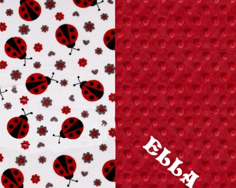 Personalized Baby Blanket Girl - Red Gray Ladybugs Minky Baby Blanket // Girl Baby Blankets // Red Ladybug Blanket // Baby Shower Gift