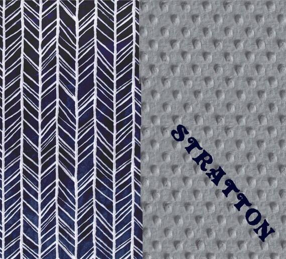 Minky Baby Blanket Silver Gray Navy Herringbone Blanket // Personalized Blanket - Newborn Gift // Boy Baby Blanket / Name Baby Blanket