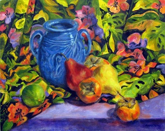 Original Painting Pear, Kitchen art, Still life painting, Oil Painting, Wall decor,