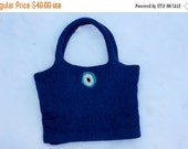Holiday Sales 10% Off Felt purse, Navy Blue Felted bag // Felt bag // Navy Blue with Evil eye felted on from of bag, Felt purse // Ready to