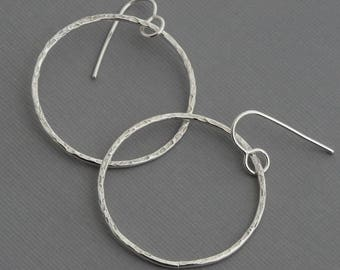 Hoop earrings silver dangle hoops hammered hoops medium hoops minimal minimalist earrings geometric jewelry artisan handmade boho jewelry