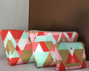 Coral and Mint Geometric Print 3 Piece Cosmetic Case & Coin Purse Set