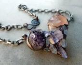 Puffy Crystal Heart with Amethyst, Rose Quartz, Elestial Amethyst, and Tibetan Quartz, Mystical Heart, Crystal Magic, Love and Meditation