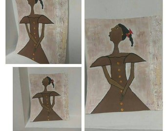 African American art,black girl ,brown art,girls art,,painting acrylic oils african,childrens art,earth tones african american child