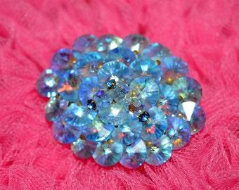 VINTAGE AURORA BOREALIS 1950's blue broach pin