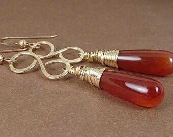 Carnelian earrings, Elegant Carnelian and 14K gold filled earrings; carnelian drop earrings; dangle earrings; wire wrapped earrings