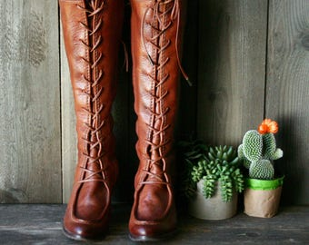 Frye Tall Lace Up Boots For Women Size 9.5 Vintage 90s From Nowvintage on Etsy
