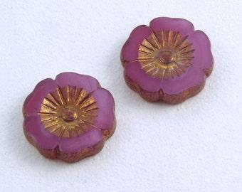 Large Hibiscus Flowers 22mm Pink Opaline Bronze Czech Glass Beads - 2