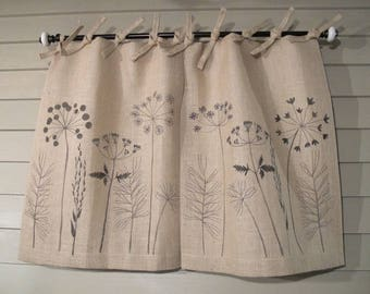 Wildflowers on Natural Burlap Tie Top Cafe Curtains and Drapes 48 Inch Wide Pair Window Treatments Rustic Curtain Fully Lined Neutral