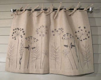 Wildflowers On Natural Burlap Tie Top Cafe Curtains And Drapes 48 Inch Wide  Pair Window Treatments