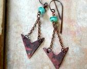 Rustic arrow earrings, tribal earrings, bohemian earrings - Artemis