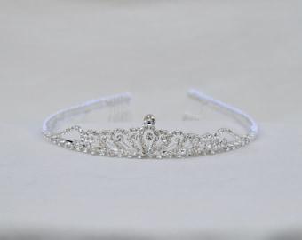 Toddler / Girls Silver Rhinestone Tiara / Toddler Birthday Tiara / Silver Princess Tiara / Flower Girl Tiara / Cinderella Tiara