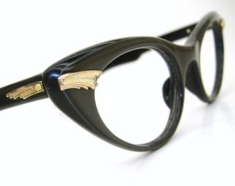 Vintage Olive Green Cat Eye Glasses Eyeglasses Sunglasses Atomic Frame