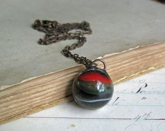 Vintage Marble Necklace, One of a Kind Repurposed Jewelry, Under 20 Gift