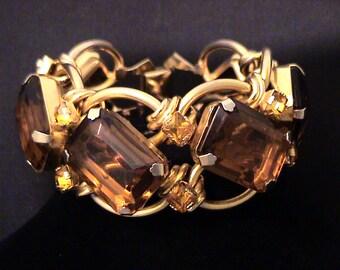Vintage Estate Chunky Large Glass Topaz Link Bracelet