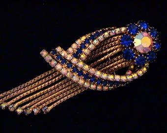 Vintage Large Bermuda Blue and AB Crystal Rhinestone Dangling Pendant Brooch