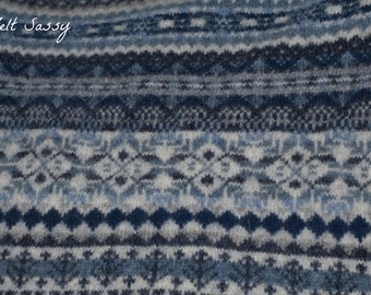 DIY Supply - Felted Wool Sweater - Blue Fair Isle - Recycled Fabric Material
