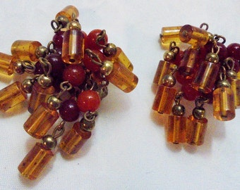 Vintage Faux Glass Amber and Carnelian Bead Clip Dangling Earrings