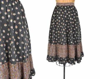 "70s black ditsy print skirt / modest floral prairie skirt / 1970s tiered ruffle liberty print skirt .. 25"" waist"
