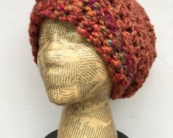 Colorful, Slouchy Beanie, Crocheted Hat, in Coral and Peach, with accents in Pink, Yellow, Turquoise, Green