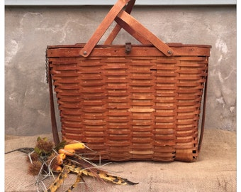 Basket - Picnic Basket - Vintage Basket - Woven Basket - Wov-n-Wood Picnic Basket - Vintage Picnic Basket - Storage Basket - Basket Display