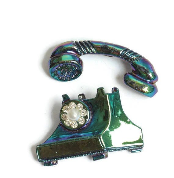 Rotary Telephone Scatter Pin Set Rhinestone and Faux Pearl Dial Iridescent Finish Vintage