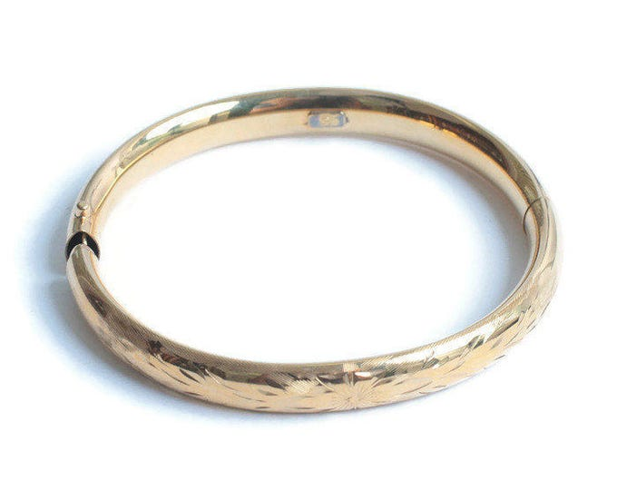 12K Gold Filled Hinged Bangle Bracelet Etched Design Vintage Signed