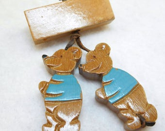 Vintage Wooden Bears Pin