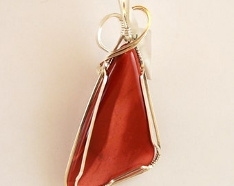 """Red Jasper (or Mookaite) Triangle pendant Sterling Silver 2 3/4"""" x 1 1/4"""" Polished Both Sides P292"""