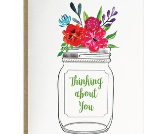 Thinking About You Flower Bouquet Mason Jar Greeting Card