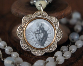 Antique Assemblage Necklace with French Holy Image Sacred Heart Pendant, Rhinestones and Rosary Beads