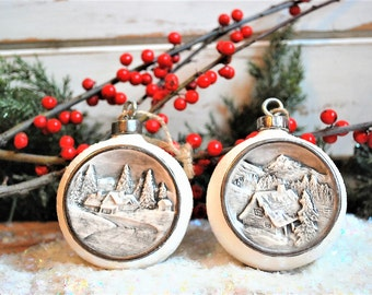 Vintage Cermaic Ornaments, Christmas Ornaments, Woodland Christmas Ornaments, Rustic Style Ornaments, Winter Cabin Scene Ornaments, Set of 2