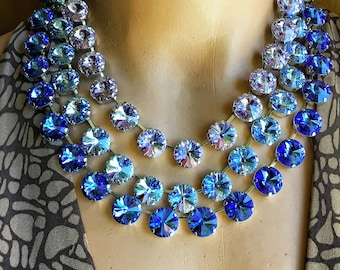 14mm Lt Sapphire Swarovski Crystal Rivoli Rhinestone  Necklace, Anna Wintour Inspired,  Layering Necklace, Rhodium Silver