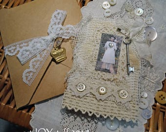 Fabric and Lace Altered Mini Notebook or Pocket Journal - girl with key - NO36