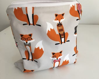 Zippered Wet Bag with Waterproof Lining - Mr Fox