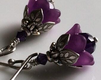 Amethyst Earrings, Tiny Amethyst Flower Earrings, February Birthday, Winter Wedding, Bridesmaids Earrings