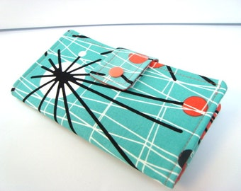Fabric Checkbook Cover, Holder -  Turquoise Atomic