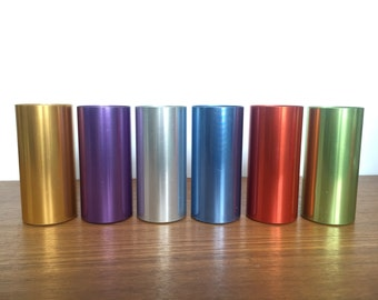 Mod Metal. Set of Six 6 Perma Hues Vintage Spun Aluminum Tumblers / Drinking Cups - Colorful and Retro - Perfect Party Glasses - Jewel Tones