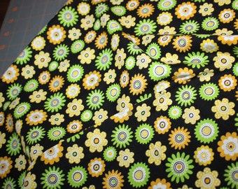 Green Yellow Daisies Flowers on Black Fun Cotton Print
