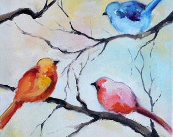 Original Abstract Painting Birds in the Garden Abstract Bird Nature Painting Nursery Colorful Wall Art 12x9""