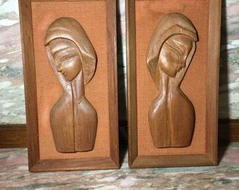"""Carved Wood Women 3D Framed Sculptural Woman Set 13"""" Folk Art"""
