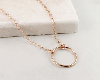 Rose Gold Circle Necklace, Karma Necklace, Eternity Circle