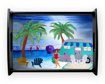 Air stream retro camper camping at the beach serving tray from my art, available in 2 sizes
