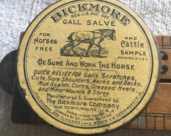 Antique tin, Bickmore Gall Salve, keep the horse working,unopened.