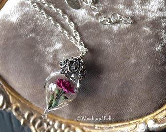 ON SALE Fuschia Pink Rose Glass Vial Flower Terrarium Necklace by Woodland Belle