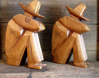 Vintage Large Mid-Century Wooden Cowboy Resting Bookends