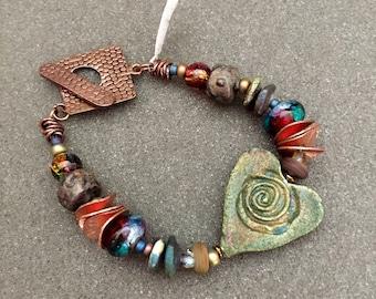 Raku Heart Bracelet