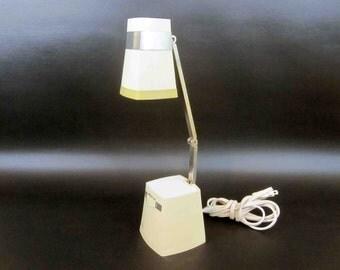 Vintage Modern Compact Obelisk Task Lamp in White. Circa 1970's.