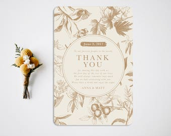 Thank You Reception Card  Reception Decor  Thank You Card  Vintage Wedding Decor  Reception Thank You Card  Place Card  Foliage