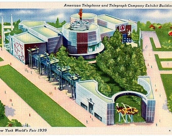 Vintage Postcard - 1939 New York World's Fair - American Telephone and Telegraph (AT&T) Exhibit Building (Unused)